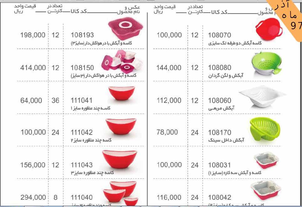لیست قیمت محصولات مانیا